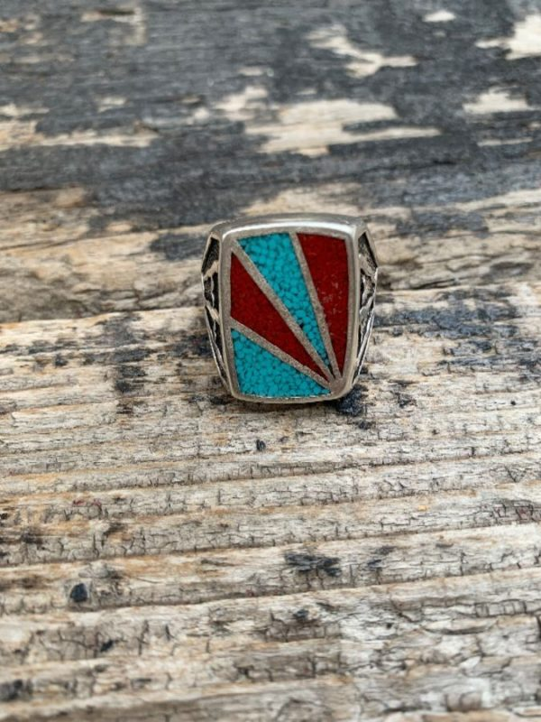 product details: SUN RAY CRUSHED CORAL & TURQUOISE STONES MOTORCYCLE BIKER RING photo