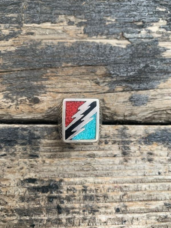 product details: DOUBLE LIGHTENING BOLTS CRUSHED TURQUOISE, CORAL & ONYX MOTORCYCLE BIKER RING photo