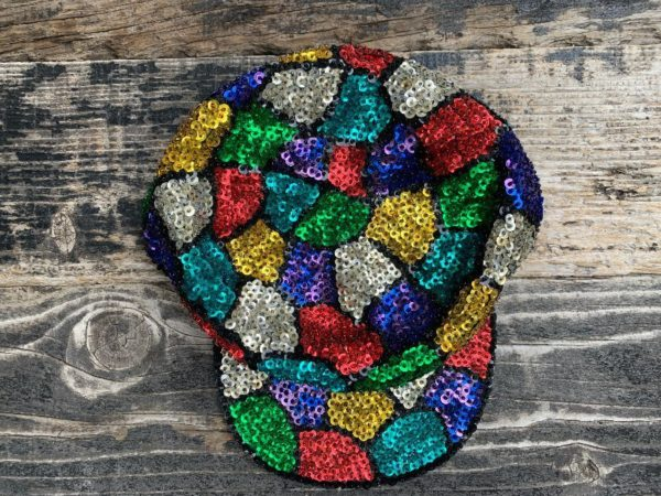 product details: MULTI COLORED ALLOVER SEQUINED HAT GEOMETRIC STAINED GLASS DESIGN photo