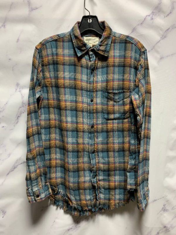 product details: CURRENT ELLIOT WOMENS FLANNEL SHIRT WITH FRAYED BOTTOM HEM photo