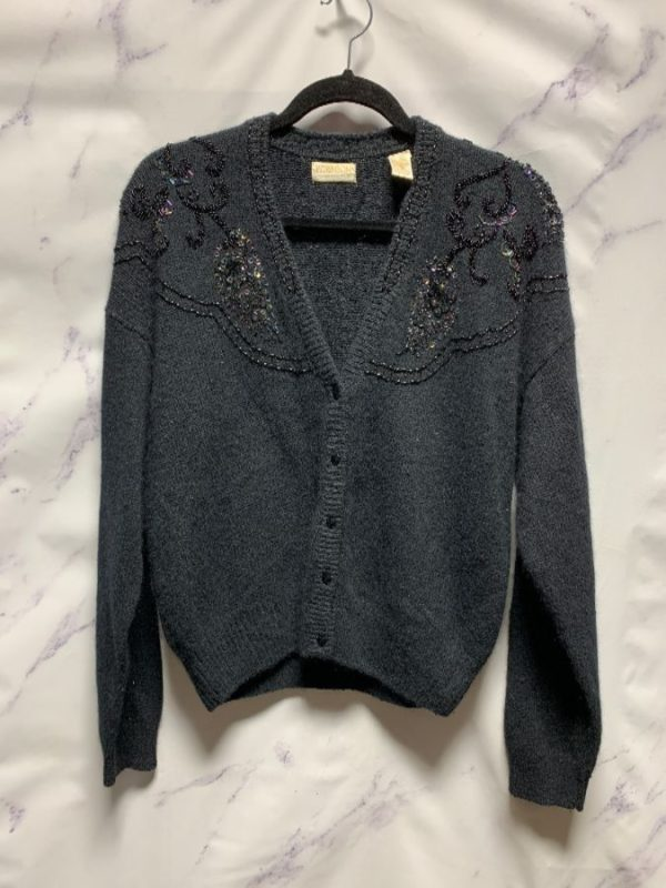 product details: BEADED SILK & ANGORA BUTTON DOWN CARDIGAN SWEATER photo