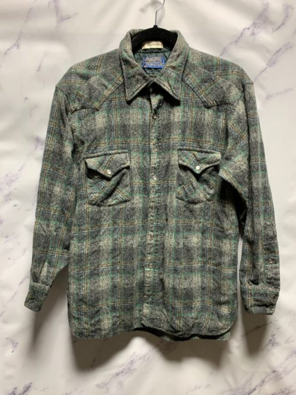 product details: LONG SLEEVE WOOL PENDLETON PEARL SNAP FLANNEL AS-IS photo