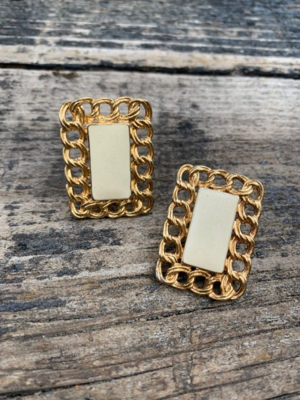 product details: RECTANGULAR CHAIN FRAMED ENAMEL CLIP EARRINGS photo