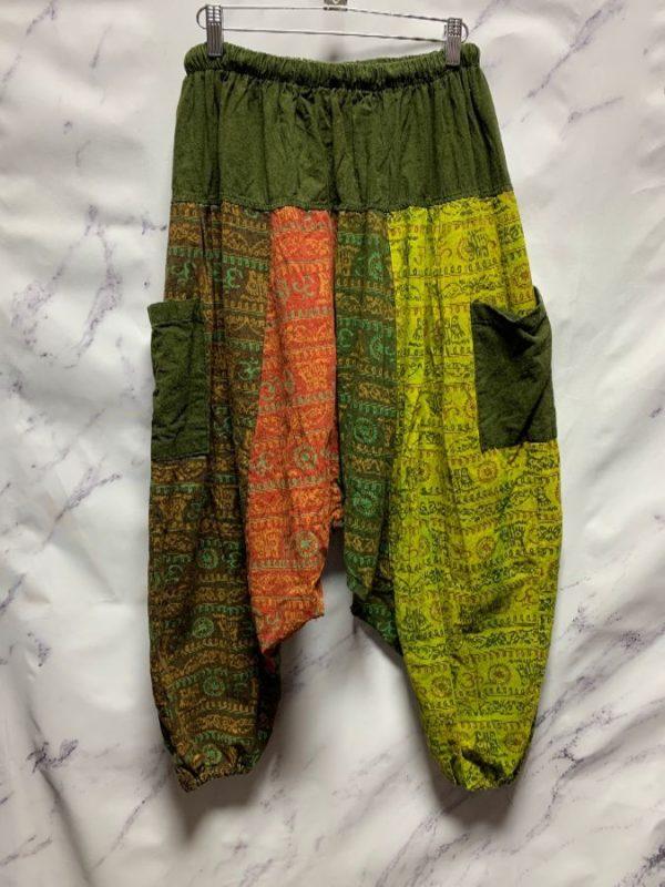 product details: FUNKY PATCHWORK INDIAN PRINT HAREM DROP CROTCH PANTS photo