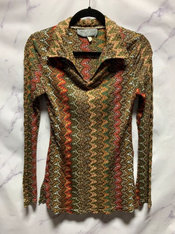 product details: 1990S MISSONI STYLE DESIGN LONG SLEEVE TUNIC MINI DRESS BELL SLEEVES photo