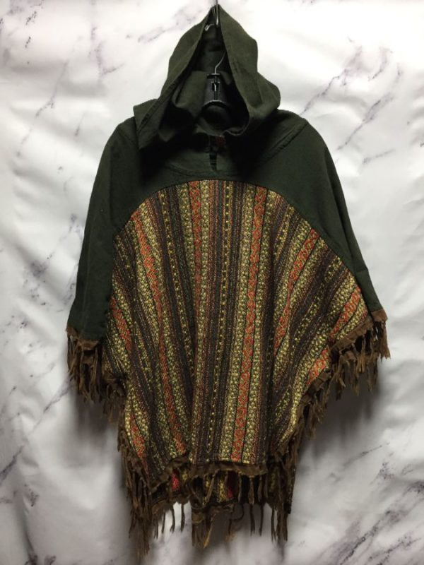 product details: HOODED WOVEN TAPESTRY AZTEC PATTERN LINEN PONCHO - AS IS photo