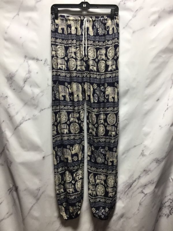 product details: ELEPHANT PRINT FROM INDIA FLOWY PANTS WITH ELASTIC WAIST & CINCHED BOTTOM photo