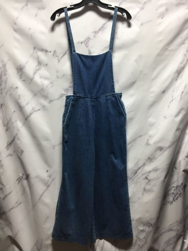 product details: RETRO FLARED DENIM OVERALLS WITH OPEN BARE BACK photo