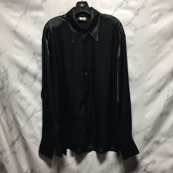 product details: RETRO 1970S SILKY LONG SLEEVE BUTTON UP DRESS SHIRT EXAGGERATED COLLAR - AS IS photo