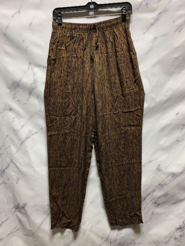 product details: 1990S SOFT RAYON BAMBOO PRINT PANTS W ELASTIC DRAWSTRING WAIST & POCKETS photo