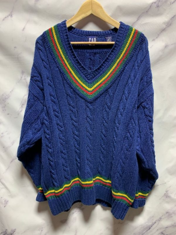 product details: HEAVY COTTON CABLE KNIT V-NECK SWEATER W COLOR BLOCK STRIPES photo