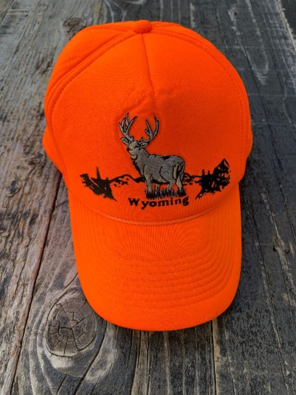 product details: RAD NEON ORANGE SNAPBACK HAT EMBROIDERED DEER WYOMING GRAPHIC photo