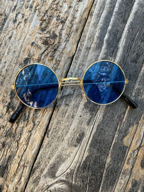 product details: SMALL ROUND BLUE TINT LENS WITH GOLDEN FRAME #JOHNLENNON photo