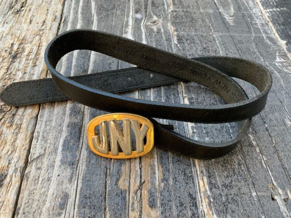 product details: 1990S NARROW CUT SOFT SADDLE LEATHER BELT WITH 2 TONE JNY BUCKLE photo