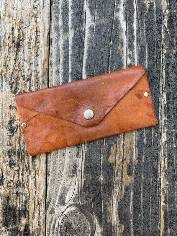 product details: VINTAGE LEATHER ARTISANAL WALLET / SUNGLASS CASE WITH SNAP BUTTON - AS IS photo