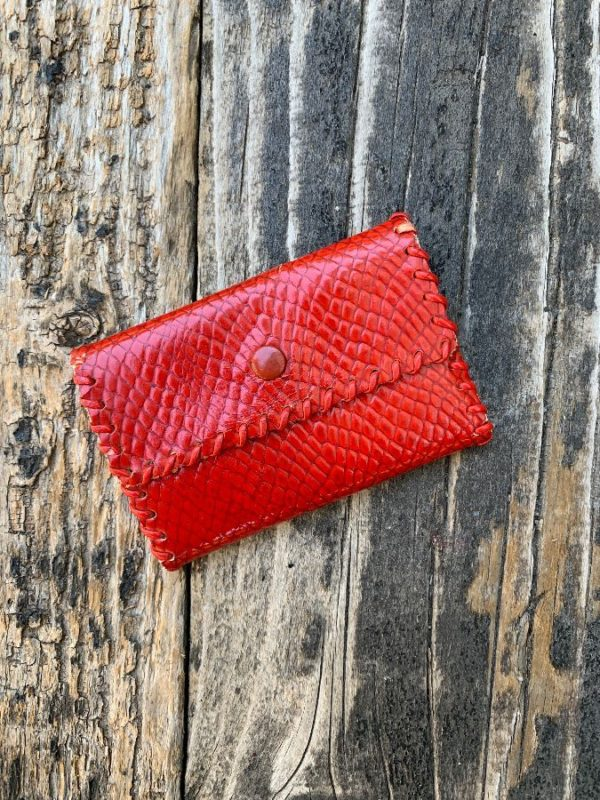 product details: SNAKE EMBOSSED LEATHER COIN PURSE SNAP BUTTON - AS IS photo