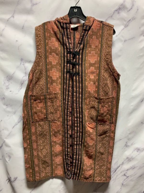 product details: SLEEVELESS ETHNIC WOVEN TAPESTRY STYLE VEST WITH HOOD photo