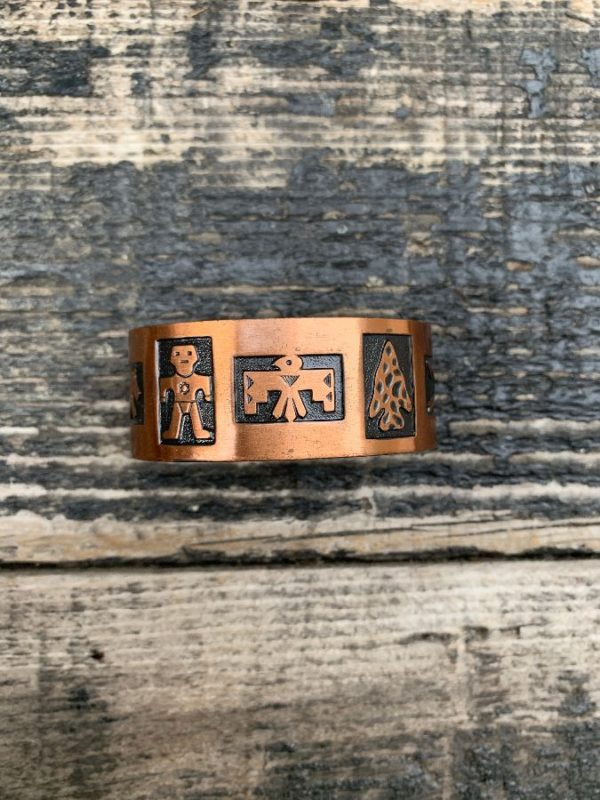 product details: COPPER EMBOSSED THUNDERBIRD & SOUTHWESTERN DESIGN CUFF BRACELET photo