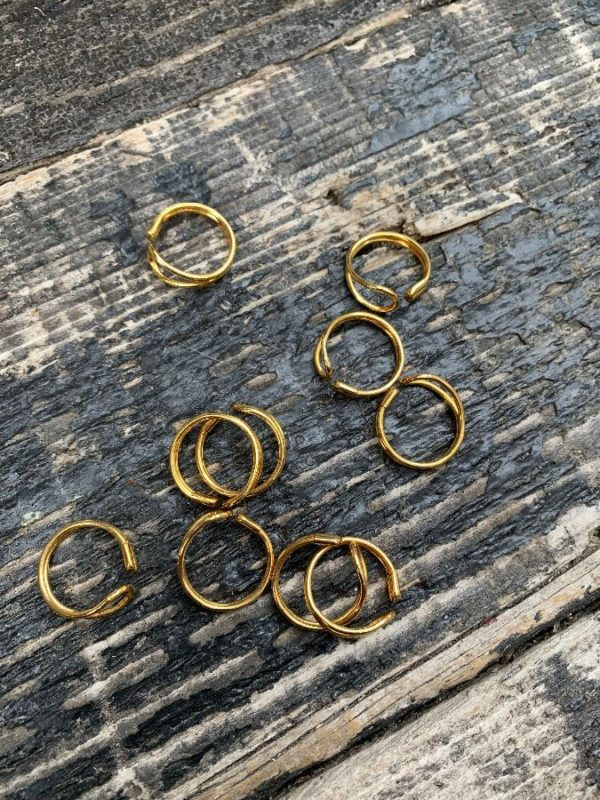 product details: BASIC BENT OMEGA LOOP BAND RING PLATED GOLD *DEADSTOCK *NOS photo