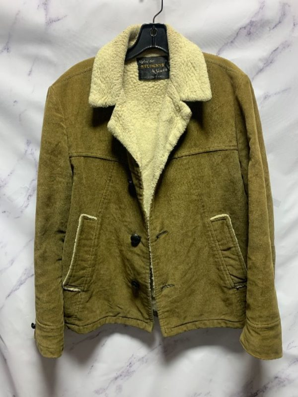 product details: EARLY 1970S VELOUR JACKET FAUX SHEARLING LINING AS-IS photo
