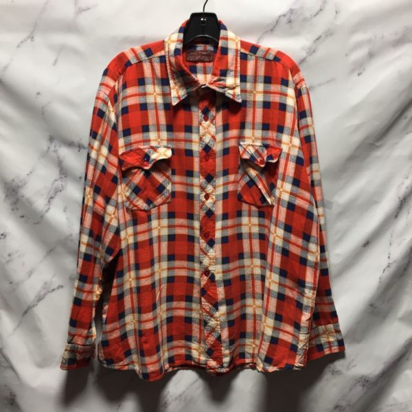 product details: 1970S RETRO THIN FLANNEL SHIRT COOL PATTERN - AS IS photo