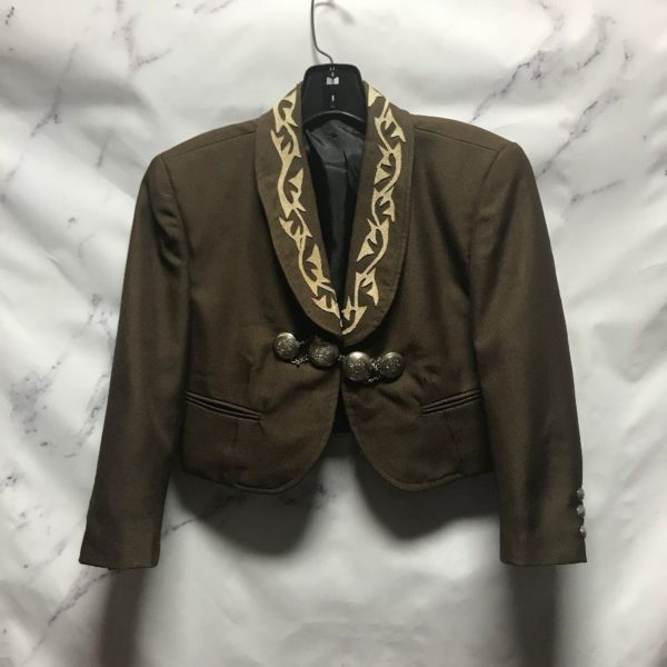 product details: CROPPED BLAZER JACKET WESTERN HORSE SHOE SUEDE PATCHWORK SILVER CHAIN BUTTONS photo