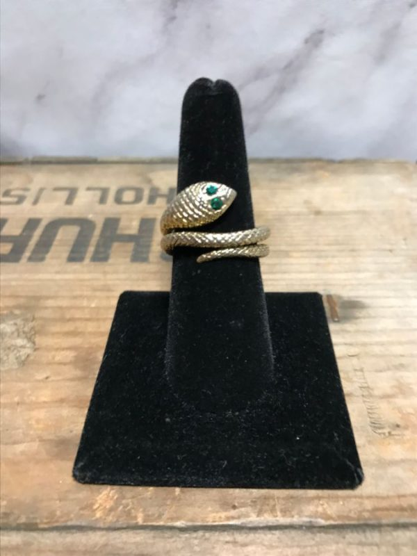 product details: GOLDEN COBRA SNAKE RING WITH EMERALD EYES photo