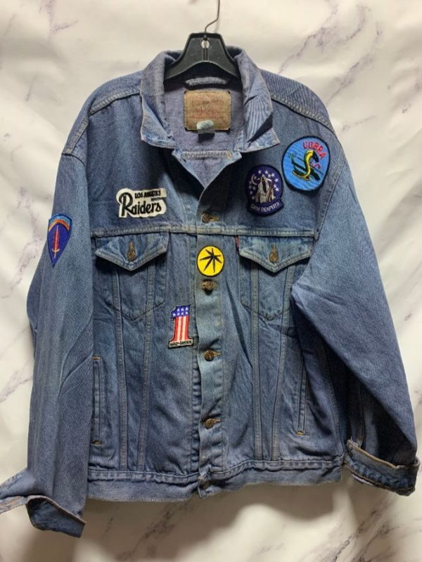 product details: DYED LEVIS DENIM JACKET WITH MILITARY PATCHES AS-IS photo