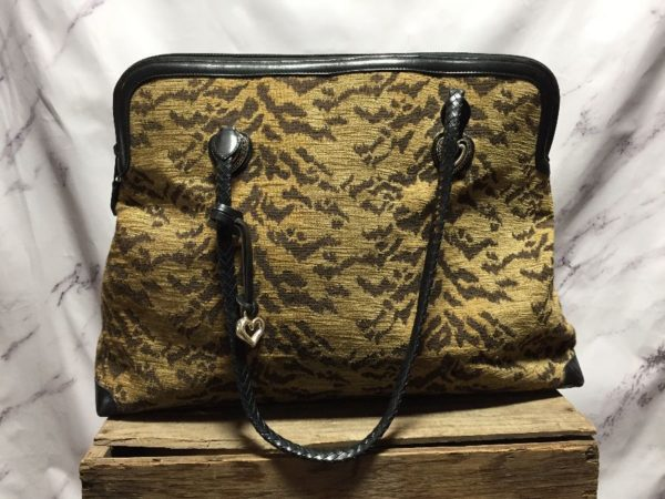 product details: 1990S BRIGHTON CARPET BAG TRAVELING TOTE / HANDBAG WITH DOUBLE LEATHER BRAIDED HANDLE STRAPS photo