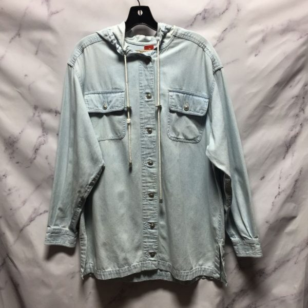 product details: HOODED CHAMBRAY DENIM SHIRT AS-IS photo