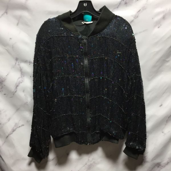 product details: 1980S SEQUIN BOMBER JACKET BEADED GRID DESGN RIBBED COLLAR AND CUFFS photo