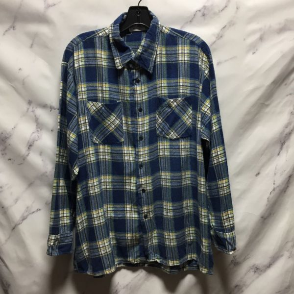 product details: DOUBLE PLAID PATTERN LONG SLEEVE FLANNEL SHIRT - AS IS photo