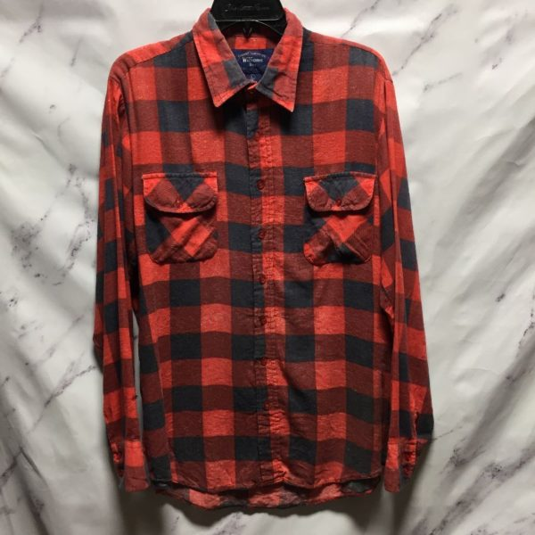product details: CLASSIC PLAID PRINT LONG SLEEVE BUTTON UP SHIRT SUPER THIN - AS IS photo