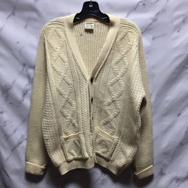 product details: ALL WOOL CARDIGAN WITH LEATHER BUTTONS - AS IS photo