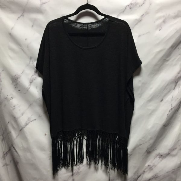 product details: OVERSIZED FLOWY BLOUSE WITH FRINGY TASSLE DANGLYS photo
