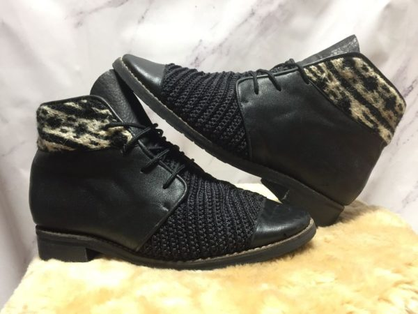 product details: COOL 1980S LACE UP LEATHER BOOTIES WITH WOVEN TEXTILE PANELS photo