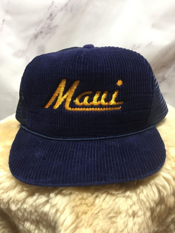 product details: RETRO EMBROIDERED MAUI CORDUROY TRUCKER HAT photo