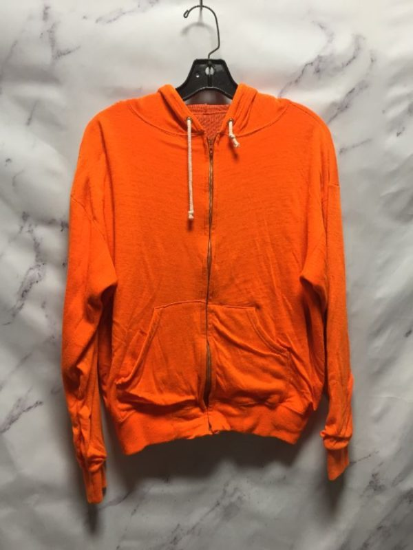 product details: SUPER SOFT NEON ORANGE ZIP UP HOODIE UNIQUE THERMAL LINING - AS IS photo