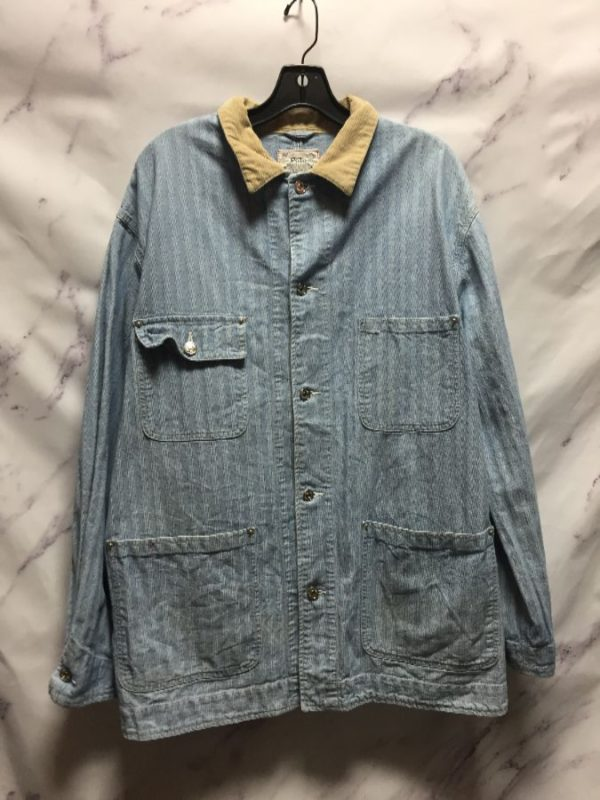 product details: POLO LONG SLEEVE HERRINGBONE TWILL DENIM JACKET SHIRT WITH CORDUROY COLLAR - AS IS photo