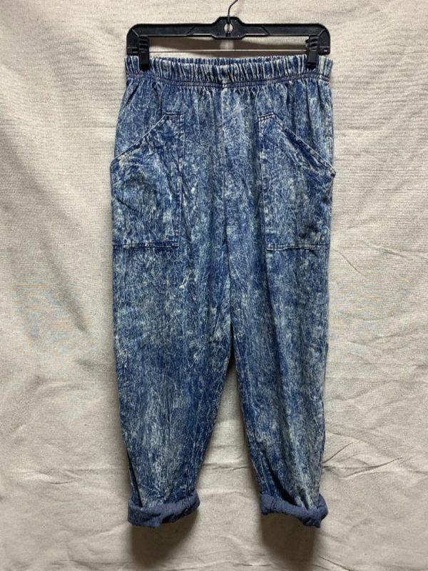 product details: SUPER RAD 1980S ACID WASH COTTON PANTS ELASTIC WAIST photo