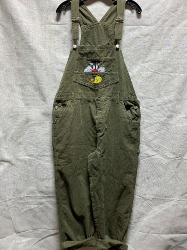 product details: 1990S LOONEY TUNES TWILL COTTON OVERALLS EMBROIDERED TWEETY & SYLVESTER photo