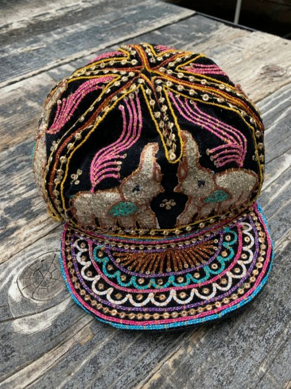 product details: VINTAGE KALAGA HAT W/ SEQUIN ELEPHANTS photo