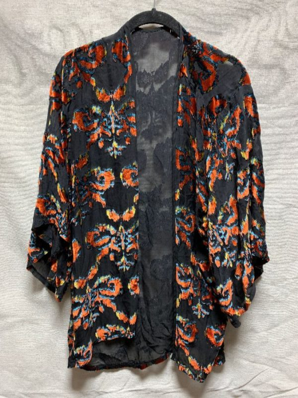 product details: SHEER FLOCKED BURNOUT VELVET OPEN CARDIGAN KIMONO TOP photo