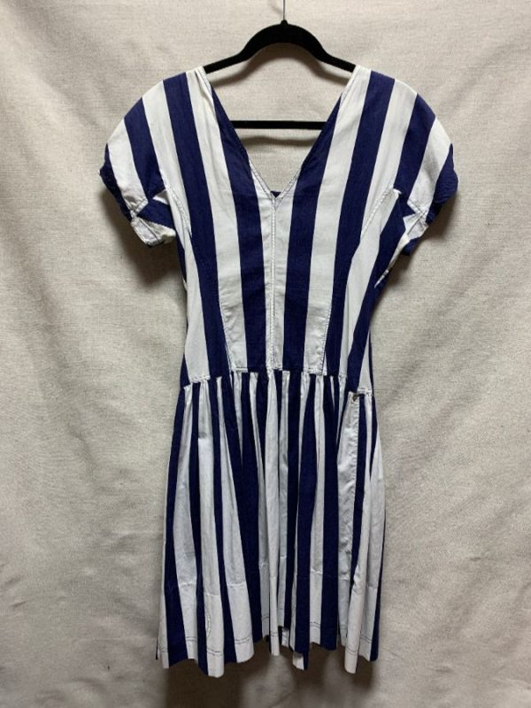 product details: 1980S COTTON VERTICAL STRIPED DRESS MADE IN FRANCE photo