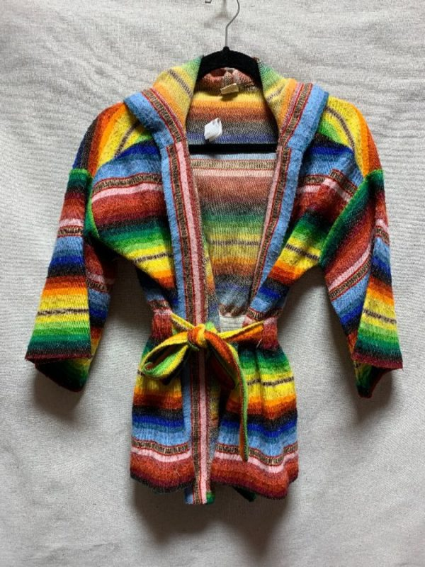 product details: RETRO HOODED RAINBOW STRIPED BELTED SWEATER CARDIGAN BELL SLEEVES photo