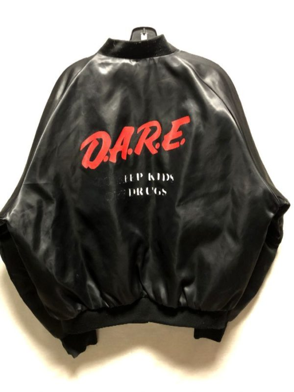 product details: VINTAGE D.A.R.E. SATIN SNAP UP BASEBALL JACKET AS-IS photo