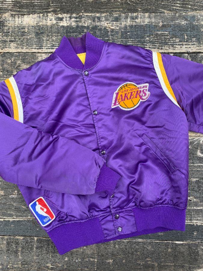 1980s Los Angeles Lakers Satin Button Up Starter Jacket Boardwalk Vintage