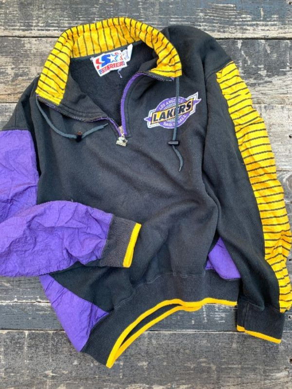 product details: RADICAL STARTER BRAND LAKERS 1/4 ZIP WINDBREAKER SWEATSHIRT JACKET HYBRID AS-IS photo