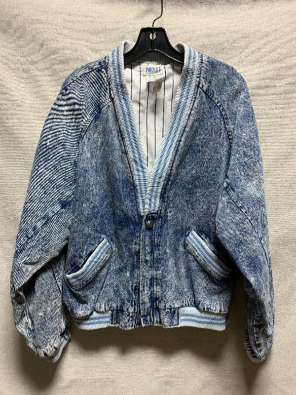 product details: ACID WASH CARDIGAN STYLE DENIM JACKET PINSTRIPED COTTON LINING AS-IS photo