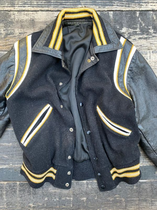 product details: RETRO REVERSIBLE WOOL & LEATHER VARSITY JACKET W/ STRIPED KNIT CUFFS & COLLAR photo